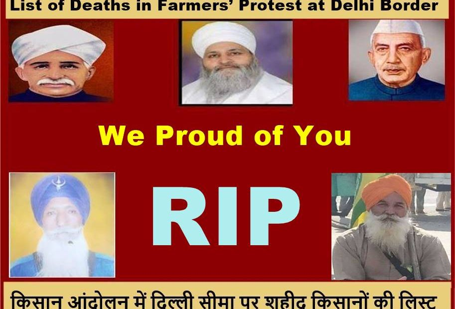 List of Deaths in Farmers' Protest at Delhi Border